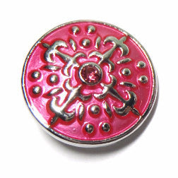 1 PC 18MM Fleur De Lis Pink Enamel Silver Candy Snap Charm Limited Edition CC0072