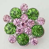 1 PC 18MM Pink Green Rhinestone Silver Candy Snap Charm KB8711 CC0387