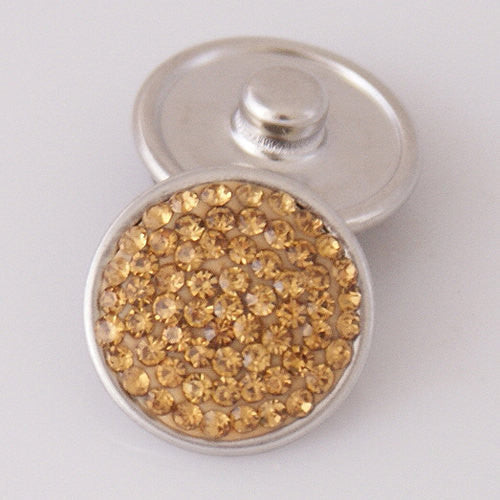1 PC 18MM Yellow Rhinestone Round Silver Candy Snap Charm KB2303 CC0370