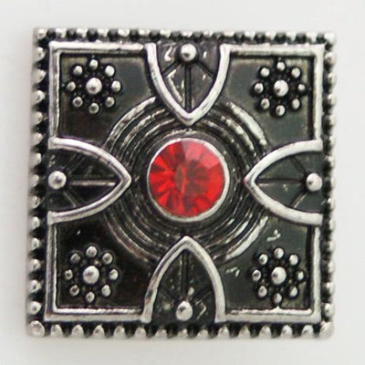 1 PC 18MM Red Square Rhinestones Silver Candy Snap Charm KB8701 CC0431