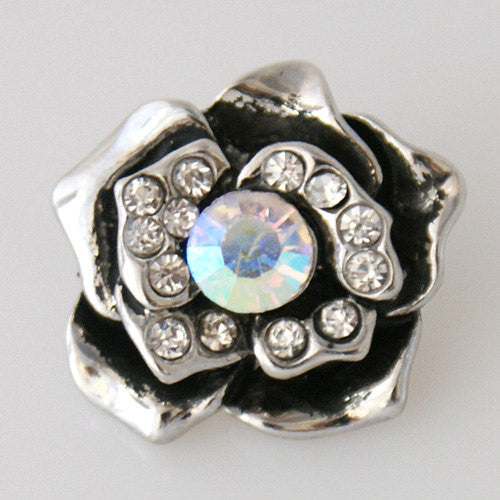 1 PC 18MM White Rhinestones Flower Silver Candy Snap Charm KB7511 CC0446