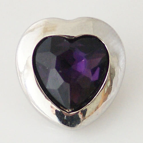 1 PC 18MM Purple Heart Rhinestones Silver Snap Candy Charm KB6296 CC0465