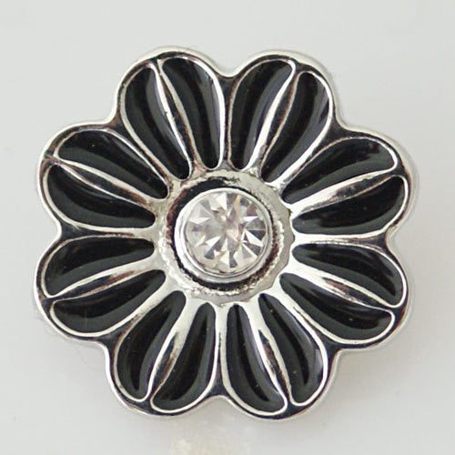 1 PC 18MM Black Enamel Rhinestone Flower Silver Candy Snap Charm KB7041 CC0469