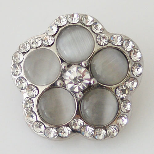 1 PC 18MM Gray Rhinestones Flower Silver Snap Candy Charm KB8723 CC0439