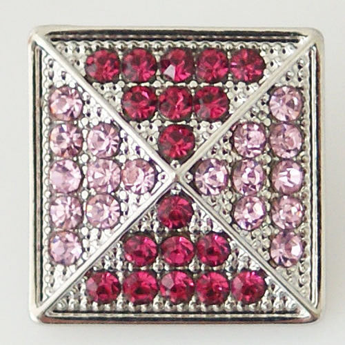 1 PC 18MM Pink Square Rhinestones Silver Snap Candy Charm KB6318 CC0467