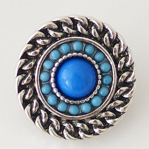 1 PC 18MM Blue Rhinestone Silver Snap Candy Charm KB6289 CC0573