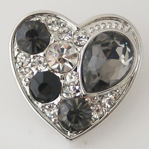 1 PC 18MM Gray Heart Rhinestones Silver Snap Candy Charm KB6371 CC0590