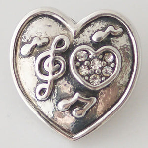 1 PC 18MM Music Musical Notes Heart Rhinestones Silver Snap Candy Charm KB6370 CC0589