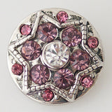 1 PC 18MM Pink Star Rhinestone Silver Candy Snap Charm KB7070 CC0601