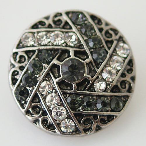 1 PC 18MM White Gray Rhinestone Silver Snap Candy Charm KB8725 CC0616