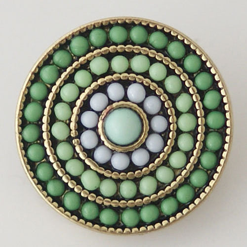 1 PC 18MM Green Blue Rhinestone Silver Candy Snap Charm KB6340 CC0674