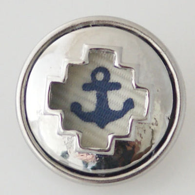 1 PC 18MM Blue Cloth Anchor Silver Candy Snap Charm KB6356 CC0658
