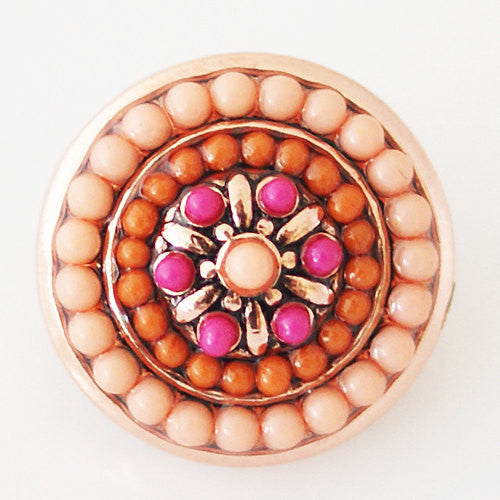1 PC 18MM Orange Pink Rhinestone Pearl Silver Candy Snap Charm KB6391 CC0690