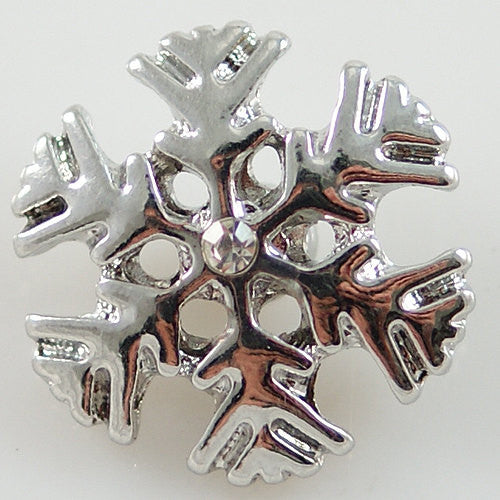 1 PC 18MM Snowflake Rhinestone Silver Snap Candy Charm KB8061 CC0706