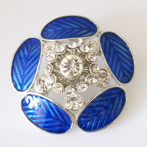 1 PC 18MM XL Rhinestone Blue Flower Silver Candy Snap Charm KB7095 CC0719