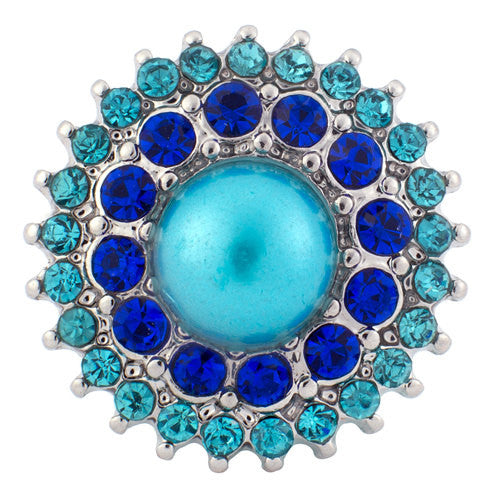 1 PC 18MM Rhinestone Blue Pearl Silver Snap Candy Charm KB8089 CC0723
