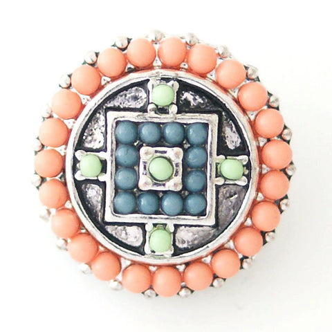 1 PC 18MM Peach Geometric Faux Pearl Rhinestone Silver Candy Snap Charm kb6411 CC0777