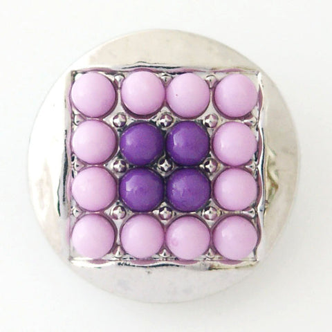 1 PC 18MM Purple Square Faux Pearl Rhinestone Silver Candy Snap Charm kb6414 CC0780