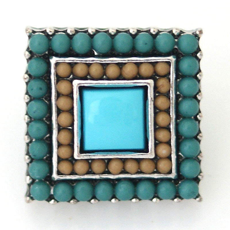 1 PC 18MM Blue Square Faux Pearl Rhinestone Silver Snap Candy Charm kb6419 CC0784