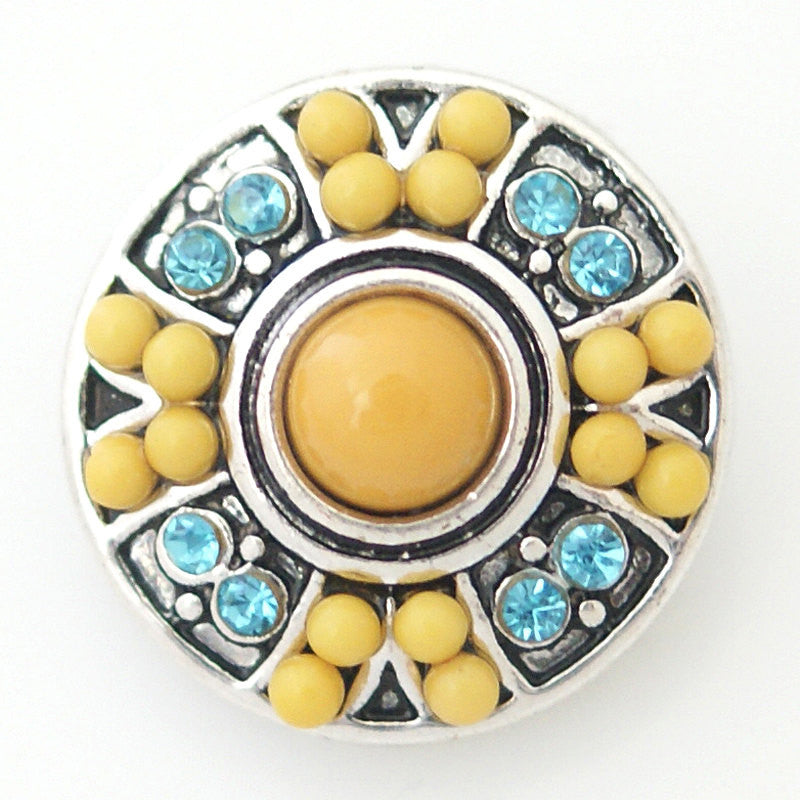 1 PC 18MM Yellow Blue Faux Pearl Rhinestone Silver Candy Snap Charm kb6423 CC0788