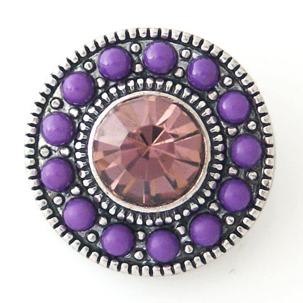 1 PC 18MM Purple Pink Pearl Rhinestone Silver Candy Snap Charm kb6430 CC0794