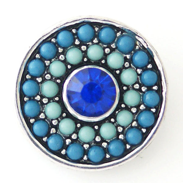 1 PC 18MM Blue Pearl Rhinestone Silver Snap Candy Charm kb6435 CC0797