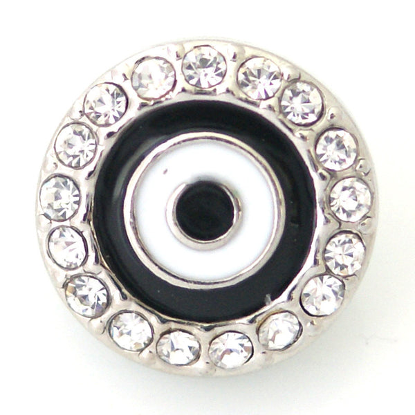 1 PC 18MM Black White Circle Enamel Rhinestone Silver Candy Snap Charm kb6453 CC0808