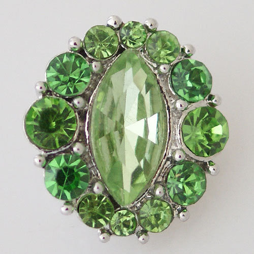 1 PC 18MM Green Rhinestone Silver Snap Candy Charm kb7344 CC0823
