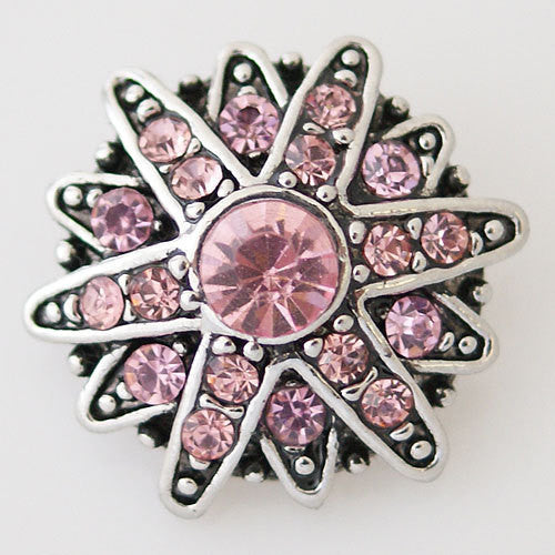 1 PC 18MM Pink Star Rhinestone Silver Candy Snap Charm kb7364 CC0831