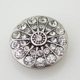 1 PC 18MM White Rhinestone Silver Candy Snap Charm kb7448 CC0848