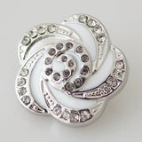 1 PC 18MM White Swirl Enamel Rhinestone Silver Candy Snap Charm kb8044 CC0861