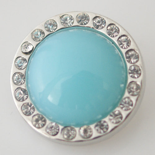 1 PC 18MM Blue Lampwork Glass Silver Candy Snap Charm kb3763 CC0760