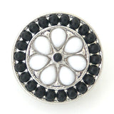 1 PC 18MM Black White Faux Pearl Rhinestone Silver Snap Candy Charm kb6404 CC0770