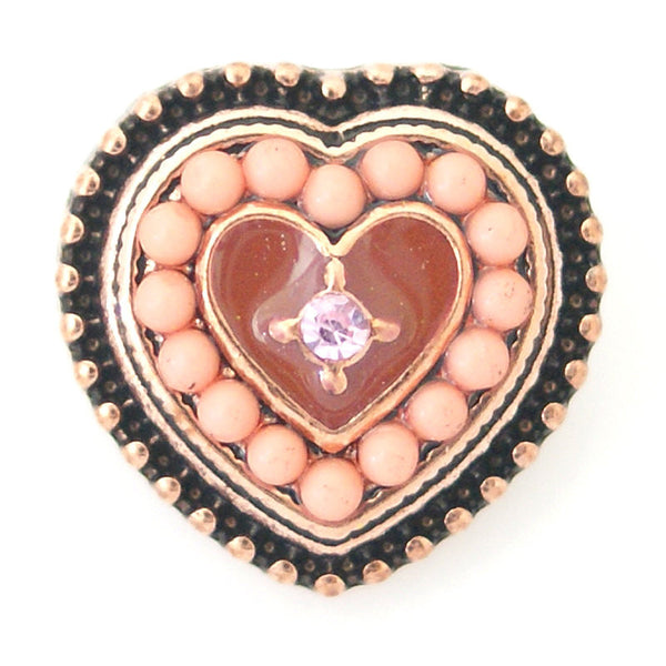 1 PC 18MM Black Peach Heart Faux Pearl Rhinestone Silver Snap Candy Charm kb6407 CC0773