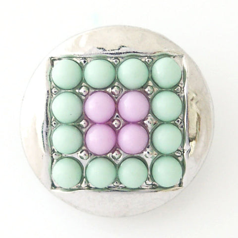 1 PC 18MM Teal Pink Square Faux Pearl Rhinestone Silver Candy Snap Charme kb6413 CC0779