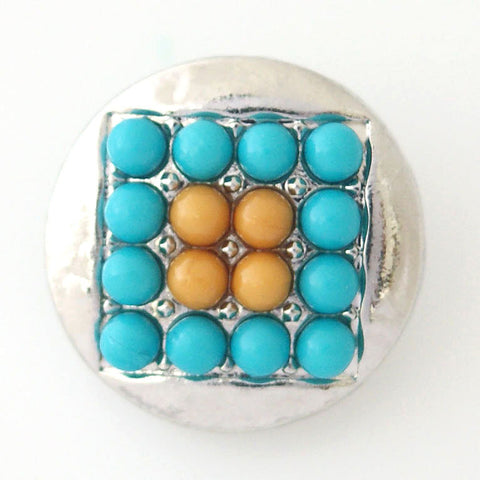 1 PC 18MM Blue Yellow Square Faux Pearl Rhinestone Silver Candy Snap Charm kb6416 CC0782