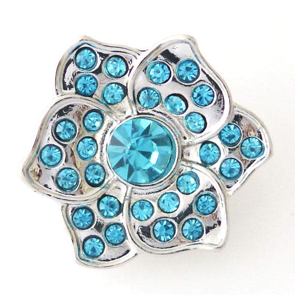 1 PC 18MM Blue Flower Rhinestone Silver Snap Candy Charm kb8144 CC0880