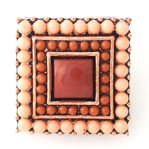 1 PC 18MM Brown Peach Square Faux Pearl Rhinestone Silver Candy Snap Charm kb6422 CC0787