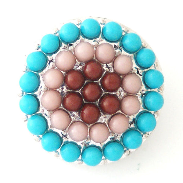 1 PC 18MM Blue Brown Pearl Rhinestone Candy Snap Charm kb6426 CC0791