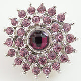 1 PC 18MM Mauve Rhinestone Silver Candy Snap Charm kb8607 CC0898