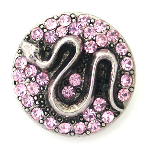 1 PC 18MM Pink Snake Rhinestone Silver Candy Snap Charm kb8754 CC0923