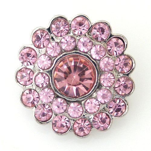1 PC 18MM Pink Rhinestone Silver Snap Candy Charm kb8779 CC0932