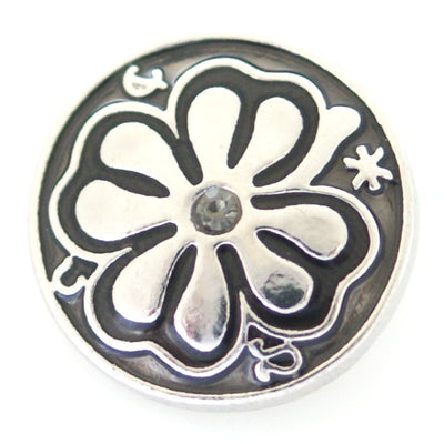 1 PC 18MM Gray Clover Enamel Silver Snap Candy Charm kb8172 CC0889
