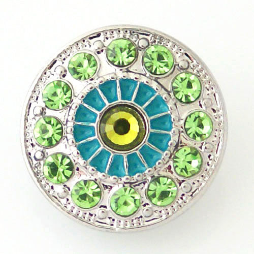 1 PC 18MM Blue Green Rhinestone Enamel Silver Snap Candy Charm kb8176 CC0891