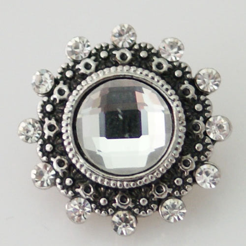 1 PC 18MM White Rhinestone Silver Snap Candy Charm kb8693 CC0912