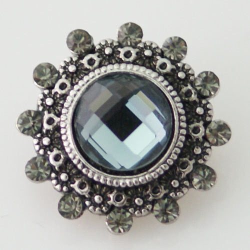 1 PC 18MM Gray Rhinestone Silver Snap Candy Charm kb8694 CC0913