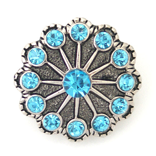 1 PC 18MM Blue Rhinestone  Silver Candy Snap Charm kb8770 CC0930