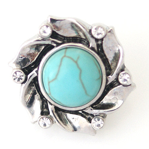 1 PC 18MM Blue Flower Rhinestone Silver Snap Candy Charm ds5001 CC0951