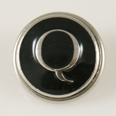 1 PC 18MM Black Enamel Letter Q Alphabet Silver Candy Snap Charm kb1267 CC0954