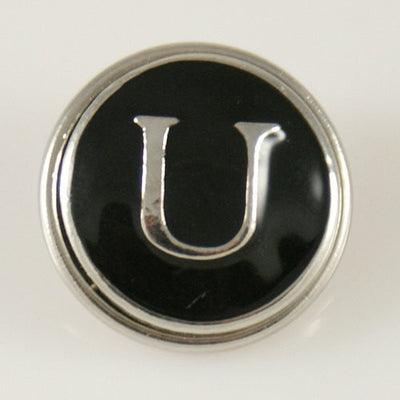 1 PC 18MM Black Enamel Letter U Alphabet Silver Candy Snap Charm kb1271 CC0955